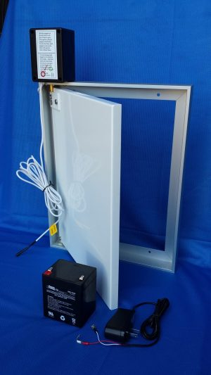 Door with Photo Sensor and Trickle Charger and Battery
